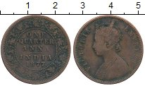 Изображение Монеты Индия 1/4 анны 1877 Медь VF