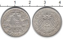 Изображение Монеты Европа Германия 1/2 марки 1913 Серебро XF