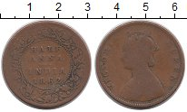 Изображение Монеты Индия 1/2 анны 1862 Медь VF Виктория