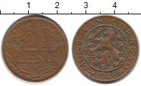 Изображение Монеты Нидерланды Кюрасао 2 1/2 цента 1948 Бронза XF