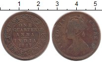 Изображение Монеты Индия 1/4 анны 1887 Медь VF Виктория