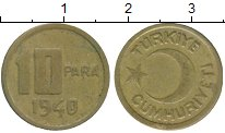 Изображение Монеты Азия Турция 10 пар 1940 Латунь XF