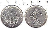Изображение Монеты Франция 5 франков 1964 Серебро UNC-