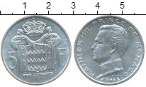 Изображение Монеты Монако 5 франков 1966 Серебро UNC- Раньер III
