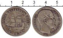 Изображение Монеты Дания Датская Вест-Индия 20 центов 1862 Серебро XF-