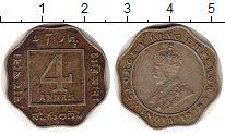 Изображение Монеты Индия 4 анны 1919 Медно-никель XF Георг V