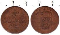 Изображение Монеты Германия Гессен-Кассель 1/2 крейцера 1803 Медь VF