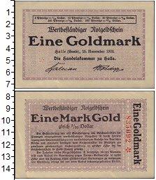 Изображение Банкноты Германия : Нотгельды 1 марка 1923  XF+ Халле
