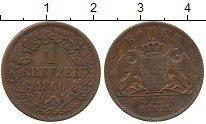 Изображение Монеты Германия Баден 1 крейцер 1860 Медь