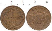 Изображение Монеты Германия Баден 1 крейцер 1869 Медь