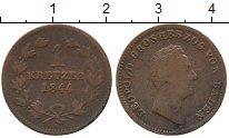 Изображение Монеты Германия Баден 1 крейцер 1844 Медь