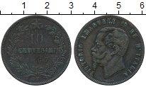 Изображение Монеты Италия 10 сентесим 1867 Медь  Виктор Эммануил II