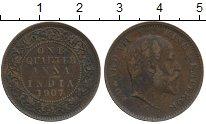 Изображение Монеты Азия Индия 1/4 анны 1907 Бронза