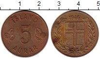 Изображение Монеты Исландия 5 аурар 1946 Бронза