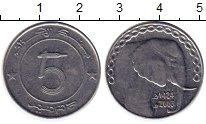 Изображение Монеты Алжир 5 динар 2003 Сталь  Слон