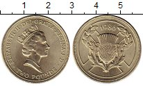 Изображение Мелочь Великобритания 2 фунта 1986 Латунь UNC-