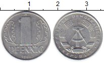 Изображение Монеты ГДР 1 пфенниг 1968 Алюминий UNC-