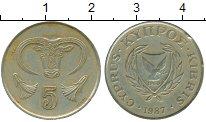 Изображение Монеты Азия Кипр 5 центов 1987 Латунь VF
