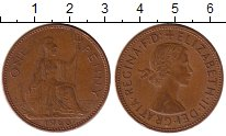Изображение Монеты Великобритания 1 пенни 1966 Бронза XF Елизавета II