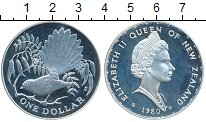 Изображение Монеты Новая Зеландия 1 доллар 1980 Серебро Proof-