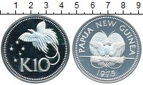 Изображение Монеты Папуа-Новая Гвинея 10 кин 1975 Серебро Proof-