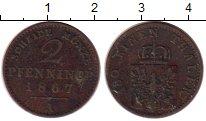 Изображение Монеты Германия Пруссия 2 пфеннига 1867 Медь VF