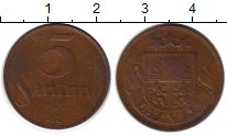 Изображение Монеты Европа Латвия 5 сантим 1922 Бронза VF