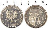 Изображение Монеты Польша 1000 злотых 1987 Серебро Proof- XXIV Олимпийские игр