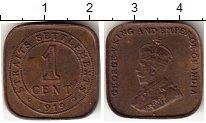 Изображение Монеты Стрейтс-Сеттльмент 1 цент 1919 Медь VF Георг V