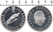 Изображение Монеты Европа Норвегия 100 крон 1992 Серебро Proof-