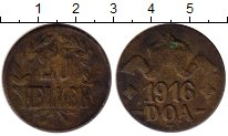 Изображение Монеты Германия Немецкая Африка 20 геллеров 1916 Медь VF
