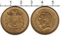 Изображение Монеты Монако 2 франка 1945 Латунь UNC- Луис II