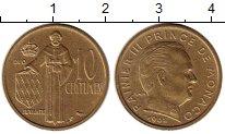 Изображение Монеты Монако 10 сантим 1962 Латунь UNC-