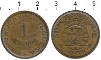 Изображение Монеты Мозамбик 1 эскудо 1968 Бронза XF Португальская колони