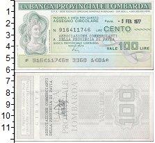 Изображение Банкноты Италия 100 лир 1977  UNC Банковский чек Ломба