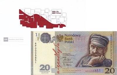 Изображение Банкноты Польша 20 злотых 2018  UNC