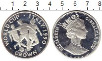 Изображение Монеты Гибралтар 1 крона 1990 Серебро Proof- Елизавета II.  Чемпи