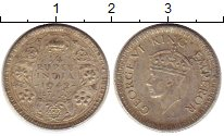 Изображение Монеты Индия 1/4 рупии 1942 Серебро XF-