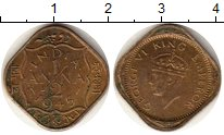 Изображение Монеты Азия Индия 1/2 анны 1945 Латунь VF