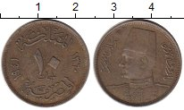 Изображение Монеты Египет 10 миллим 1941 Медно-никель XF- Фарук I