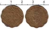 Изображение Монеты Азия Индия 1 анна 1943 Латунь VF