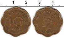 Изображение Монеты Цейлон 10 центов 1944 Латунь VF