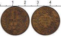 Изображение Монеты Африка Тунис 1 франк 1921 Латунь VF