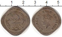 Изображение Монеты Азия Индия 2 анны 1946 Медно-никель XF-
