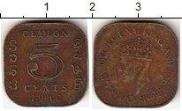 Изображение Монеты Цейлон 5 центов 1942 Бронза VF