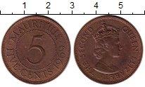 Изображение Монеты Маврикий 5 центов 1969 Бронза XF Елизавета II