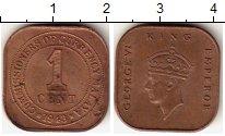 Изображение Монеты Малайя 1 цент 1943 Бронза XF Георг VI