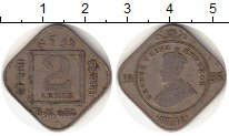 Изображение Монеты Азия Индия 2 анны 1935 Медно-никель VF