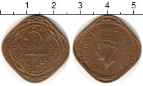 Изображение Монеты Индия 2 анны 1943 Латунь XF Георг VI