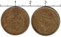Изображение Монеты Цейлон 25 центов 1943 Латунь VF